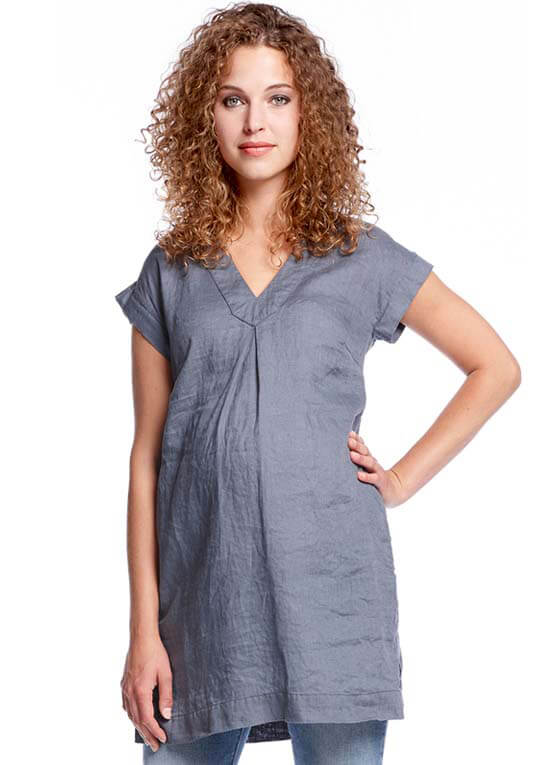 Queen Bee Inverted Pleat Front Maternity Linen Tunic in Blue by Queen mum