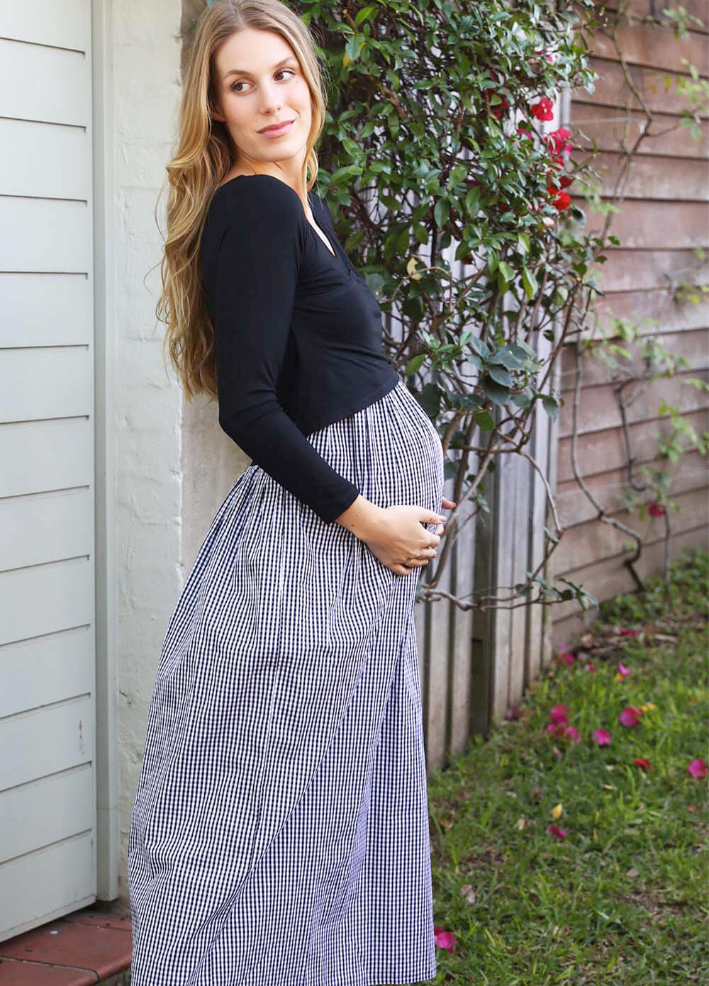 Trimester® - Wyatt Gingham Crossover Nursing Maxi Dress