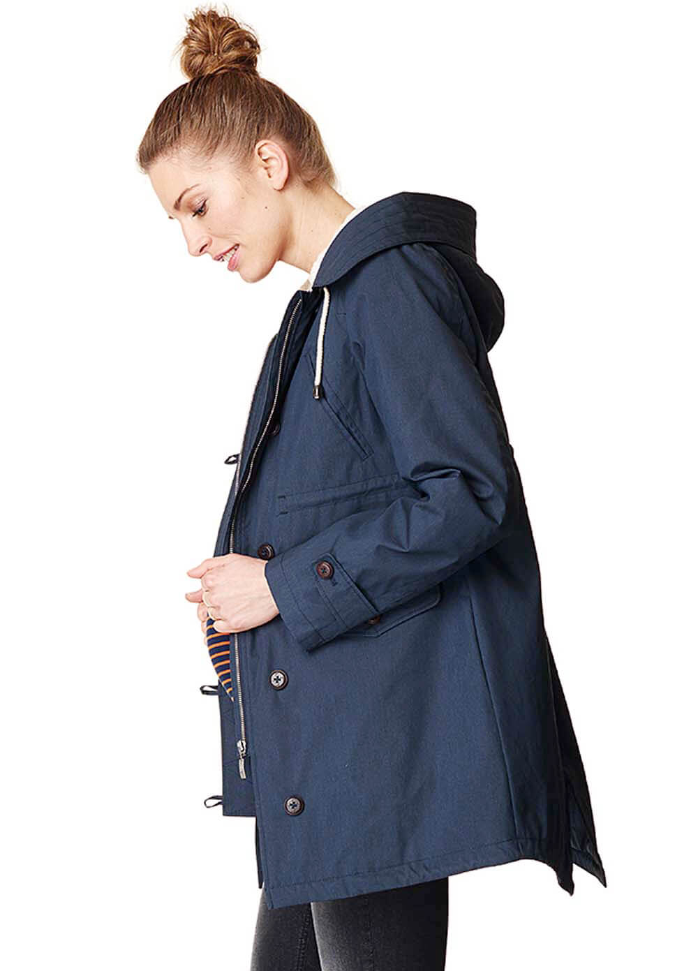 Queen Bee Hooded Winter Maternity Parka in Blue by Esprit