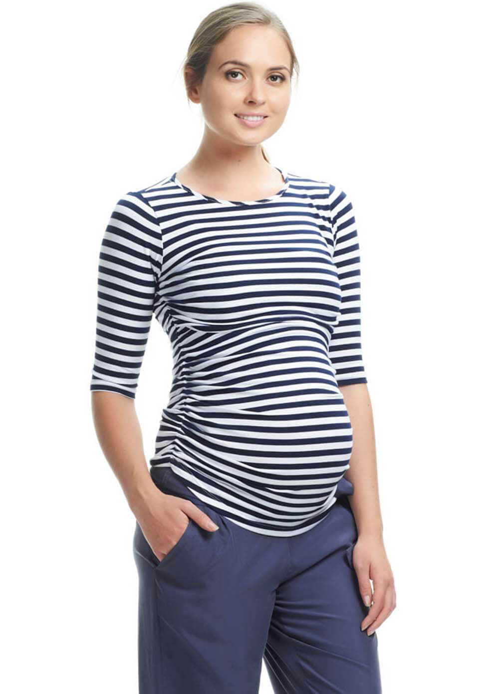 Queen Bee Honor 3/4 Sleeve Feeding Top in Navy Stripes by Soon Maternity