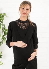 Queen mum - Lace Detail Nursing Blouse in Black