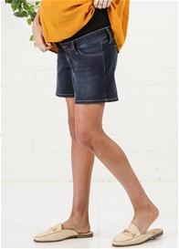 Queen mum - Over Bump Denim Shorts in Blue