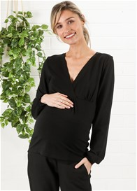 Queen mum - Puff Sleeve Nursing Blouse in Black - ON SALE