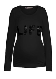 Queen mum - Sequinned Life Long Sleeve T-Shirt - ON SALE