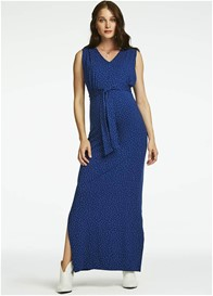 Queen mum - Sodalite Blue Polka Dot Nursing Maxi