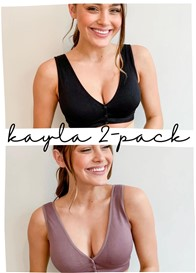 QueenBee® - 2-Pack Kayla Sleep Bra Bundle in Black/Mocha