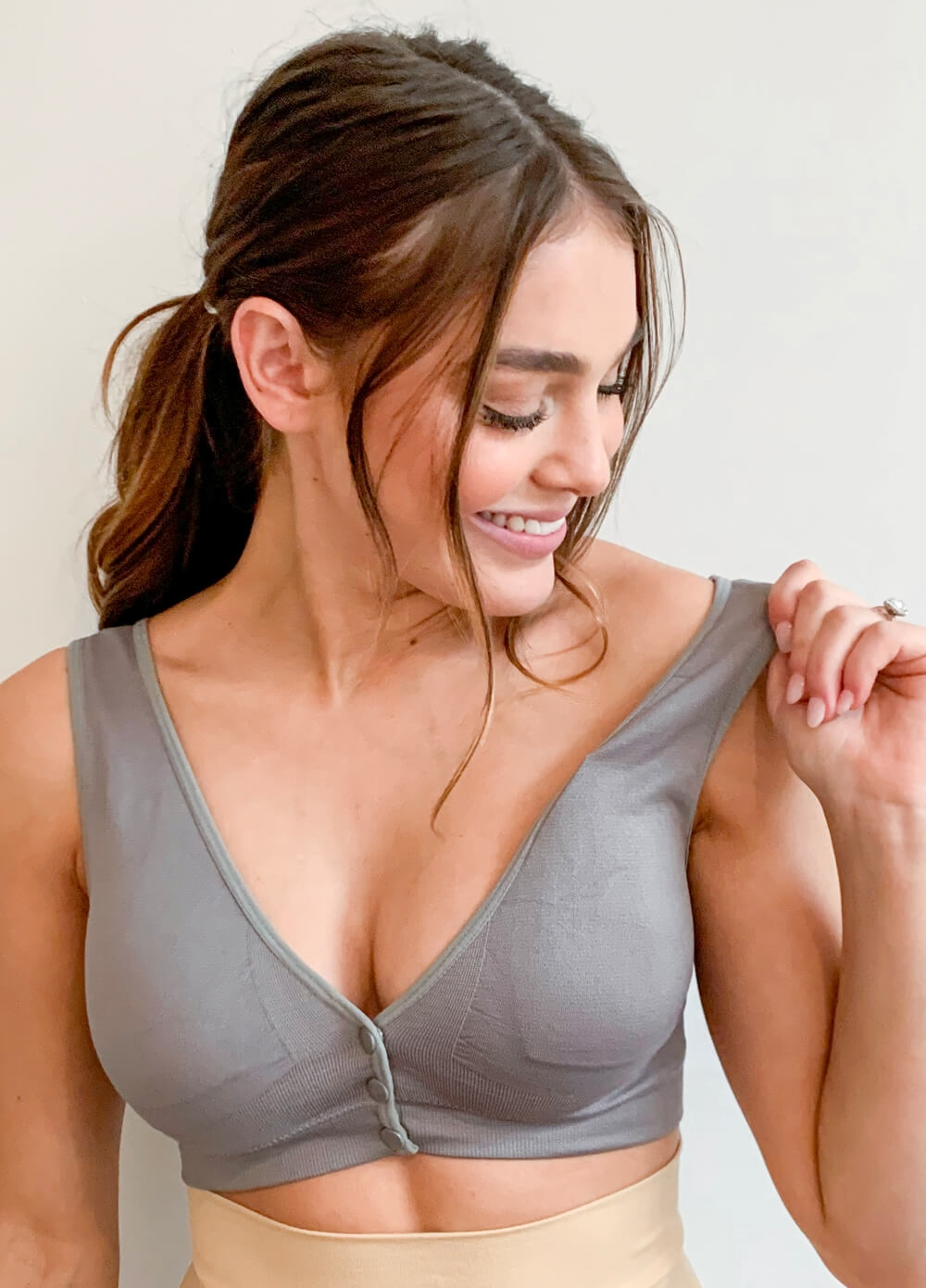 QueenBee® - Kayla Button Nursing Sleep Bra in Grey