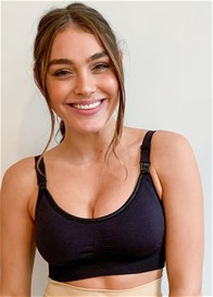 QueenBee® - Leona Seamless Nursing Bra in Black