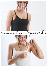 QueenBee® - Romily 2-Pack Nursing Camisole Bundle in Black/White