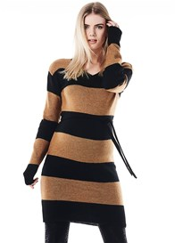 Supermom - Block Stripe Knit Sweater Dress