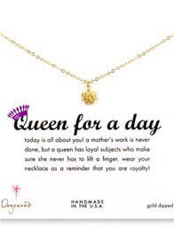 Dogeared - Queen For a Day Gold Dipped Necklace w Royal Crown Charm