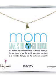 Dogeared - Mom Makes The World Go Round Necklace w Sideways Heart Charm
