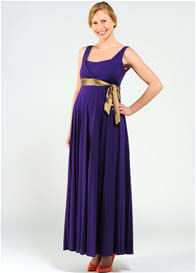 Pomkin - Imani Purple Nursing Maxi Dress w 2 Sash Belts