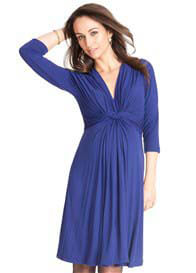 Seraphine - Royal Blue 3/4 Sleeve Knot Front Dress