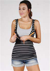 Molly Ades - Zip Nursing Tank in Black/Grey Stripes