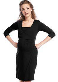 Queen mum - Surplice Wrap Nursing Dress in Black