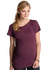 Esprit - Inlaid Pleat Tee in Vineyard - ON SALE