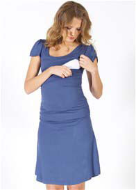 Quack Nursingwear - Cameron Angel Sleeve Nursing Dress in Blue - ON SALE