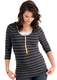 Molly Ades - 3/4 Sleeve Nursing Top in Black/Charcoal Stripe