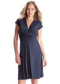 Seraphine - Navy Blue Knot Front Dress