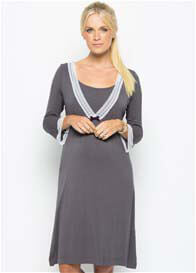 Amoralia - Pewter Lace Trim Nursing Nightdress