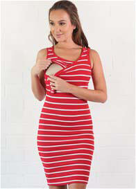Trimester™ - Sophia Red Striped Nursing Tank Dress