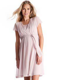 Seraphine - Chiffon Nursing Dress in Blush Pink