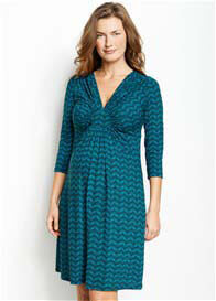 Maternal America - Circle Ruche Dress in Aqua Print