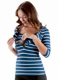 Trimester™ - Lilianne Breastfeeding Henley in Navy Stripe