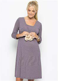 Amoralia - Purple Stripe Nursing Nightdress - ON SALE