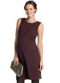 Esprit - Boucle-Textured Sleeveless Dress in Burgundy - ON SALE