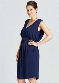 Milky Way - Rivers Draped Nursing Dress in Navy