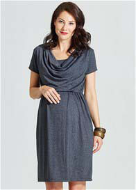 Milky Way - Avery Cowl Neck Nursing Dress in Grey