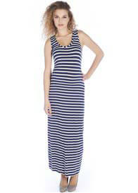 Queen mum - Betty Maxi Tank Dress in Blue Stripe