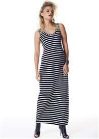 Queen mum - Betty Maxi Tank Dress in Black Stripes
