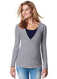 Esprit - Long Sleeve Nursing Top in Rich Navy Stripe