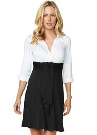 Maternal America - Front Tie Shirt Dress in White/Black - ON SALE