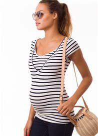Pomkin - Milkizzy Lise Nursing Top in Blue Stripes