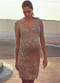 Queen mum - Beautiful Lace Evening Dress in Taupe