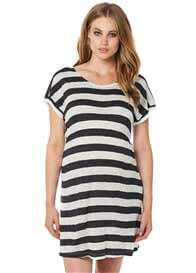 Noppies - Cerise Beach Dress in Charcoal Stripe