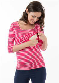 Floressa - Brayden 3/4 Sleeve Nursing Top in Pink Stripe