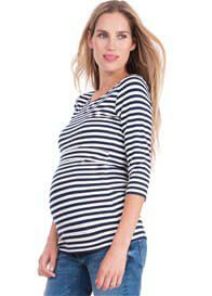 Seraphine - Bamboo Nursing Top in Navy Stripes