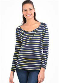 Pomkin - Milkizzy Zoe Nursing Top in Navy/Yellow Stripe