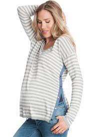 Seraphine - Heidi Grey Striped Side Popper Nursing Jumper