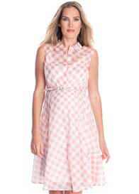 Seraphine - Gingham Cotton Dress in Pink Check