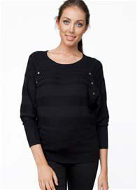 Ripe Maternity - Black Self Stripe Nursing Jumper