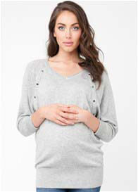 Ripe Maternity - Lambswool Nursing Jumper in Grey