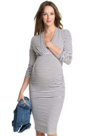 Esprit - Brown Striped Long Sleeve Nursing Dress