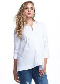 Soon Maternity - White Long Sleeve Collared Shirt