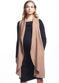 Soon Maternity - Frost Wool Long Vest in Camel